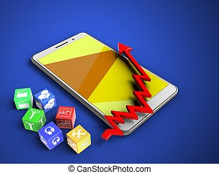 3d cubes - 3d illustration of white phone over blue...