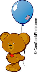 Teddy bear with red heart and balloon over white. EPS 8, AI,...