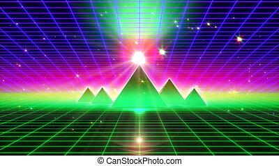VJ 80's Green Horizon - Retro futuristic 80's fluorescent...