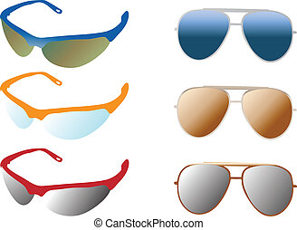 modern and retro sunglasses color vector illustration