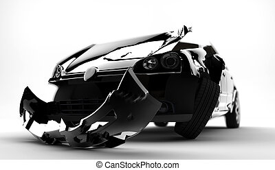 Car accident - A black accident car isolated on a white...