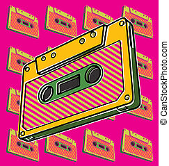 Cassette, Tape - Pop art illustration of a tape cassette