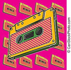 Cassette, Tape - Pop art illustration of a tape cassette.