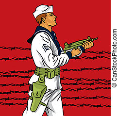 Soldier - Vector cartoon illustration of a soldier holding a...