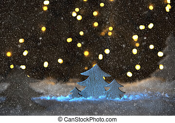 Wooden Christmas Tree, Snow, Lights, Snowflakes - Wooden...
