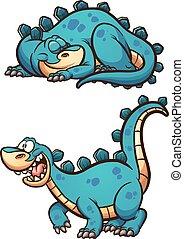 Sleeping awake dinosaur - Sleeping and awake cartoon...