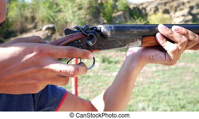 Shooting from a double-barrel rifle