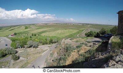 Neighborhood of the monastery Khor Virap, Armenia timelapse...