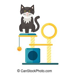 Colorful cat accessory cute vector animal icons pet...