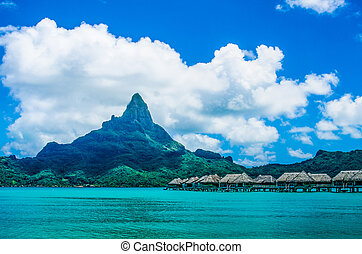 South Pacific resort has a spectacular view of Bora Bora -...