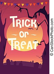 Trick or Treat Halloween Poster - A vector illustration of...