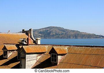 outdoor of old prison building in Alcatraz, San Francisco...
