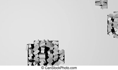 Destruction of a white brick wall on a black background. 3D...