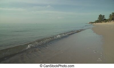 Beautiful clean Lamai beach in early morning in Koh Samui...