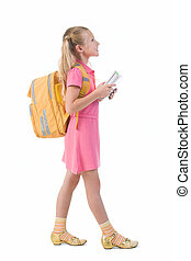 Going to school - Image of smart schoolgirl with backpack...
