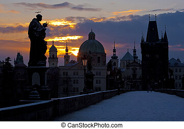 Charles Bridge at dawn, Prague, Czech Republic