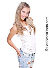 beautiful woman in a jeans with dog tag on a white...