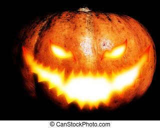 Carved Halloween Pumpkin - Big pumpkin with scary face for...