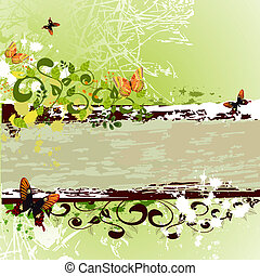 grunge banner design with butterflies