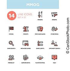 MMOG - modern vector single line icons set. Massively...