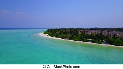 v05296 Aerial flying drone view of Maldives white sandy...