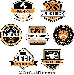Vector work tools for home repair icons set - Home repair...