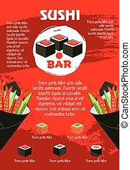 Vector poster for Japanese sushi restaurant - Sushi bar red...