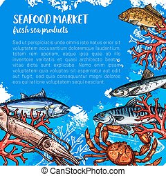 Vector poster for seafood or fish food market - Seafood...