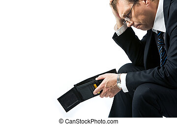 Poverty - Image of sad businessman holding empty wallet and...