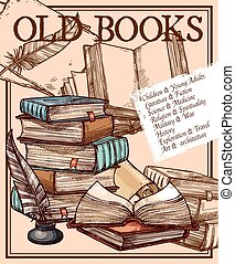 Vector old ink quill feather pen sketch, poster - Old books...