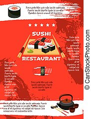 Vector poster for Japanese sushi restaurant - Japanese sushi...