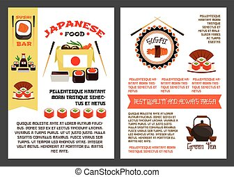 Vector menu poster for Japanese sushi food - Japanese food...