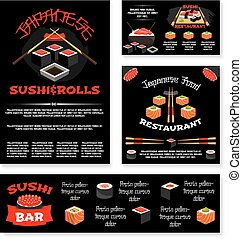 Vector templates for Japanese sushi restaurant - Sushi bar...