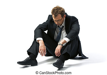Jobless man - Portrait of stressed businessman left to the...
