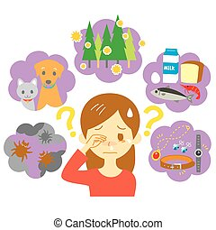 allergy causes, young woman has allergies, vector file