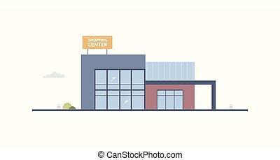 Cartoon building of shopping center or mall with large...