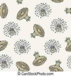 Beautiful floral seamless pattern with dandelion yellow...
