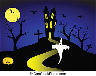 A halloween vector illustration with a ghost and a pumpkin in front of a haunted house