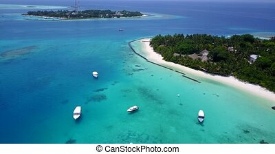 v05711 Aerial flying drone view of Maldives white sandy...
