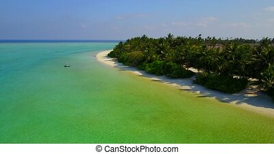 v05192 Aerial flying drone view of Maldives white sandy...