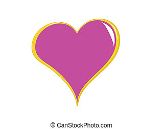 Pink Heart Isolated on White