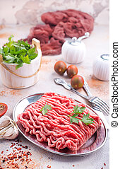 minced meat with spice andf salt, stock photo