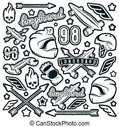 Badge set of longboarding equipment. Graphic design for...