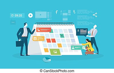 Events - Flat design business people concept for business...