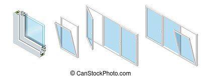 Isometric Cross section through a window pane PVC profile...
