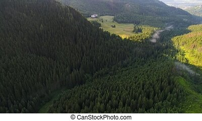 aerial view of hotel in beautiful mountains - aerial view of...