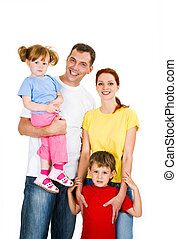 Cheerful family - Portrait of happy family isolated on a...