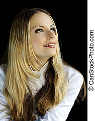 Blond beauty - Portrait of a beautiful blond girl in white...