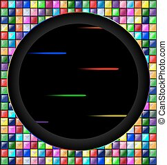 colored image of blocks and dark hole - abstract colored...
