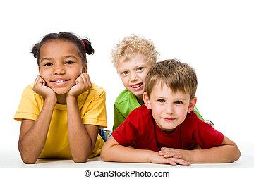 Three children - Portrait of free children looking at camera...